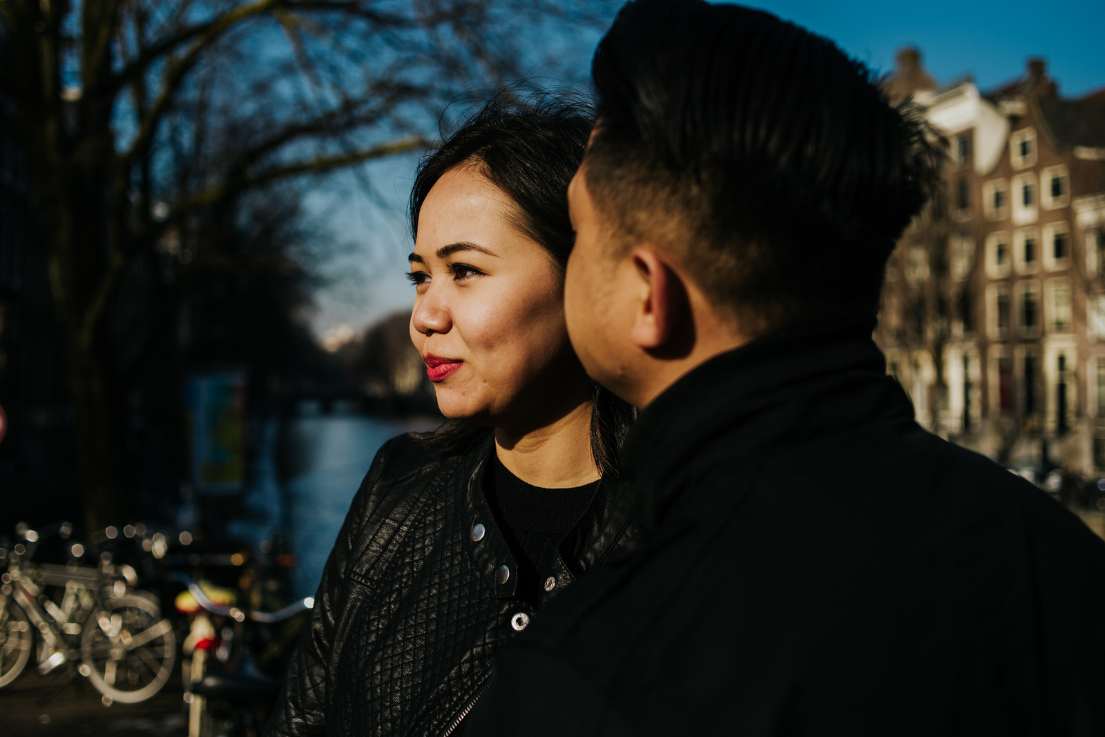 Couple during a love shoot in Amsterdam